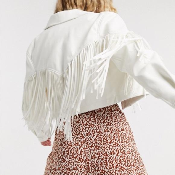 bershka western fringe white faux leather jacket ✨